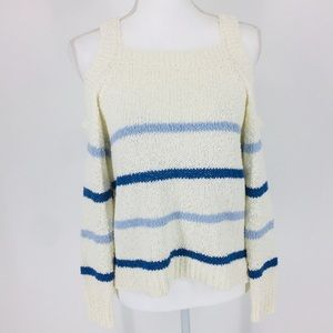 Cupcakes & Cashmere Cold Shoulder Striped Sweater